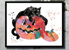 Halloween decor Pumpkin Black Cat Watercolor Art Print Cat painting Halloween wall decor Halloween scary print halloween poster pumpkin art (bogiartprint) Tags: artandcollectibles prints giclee halloweendecor halloweenprint halloweenwatercolor halloweenwallart halloweencostume vampirewatercolor pumpkinwatercolor pumpkindecor pumpkinwallart halloweennursery halloweencustome horrorhalloweenposter