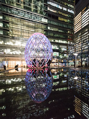 Ovo (Sean Batten) Tags: canarywharf nikon d800 1424 reflection london england unitedkingdom gb ovo water night lights city urban people building winterlights docklands eastlondon