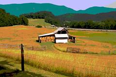 14-3150-p5 (George Hamlin) Tags: virginia arcadia posterized rural farm barn hay bales fence grass mountain backdrop hills bucolic peaceful serene colorful photo decor george hamlin photography shenandoah valley