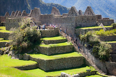 Labourer's Quarters, Macchu Picchu (kate willmer) Tags: green grass terraces buildings stones ruins macchupicchu peru
