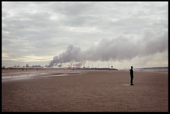 22nd of October 2016 (Paul of Congleton) Tags: october 2016 crosby sefton merseyside england uk anotherplace anthonygormley sculpture beach coast seaside fire seaforth docks olympus om4ti 35mm fujichrome sensia colour slide transparency film