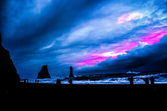 Reynisfjara (Kai-Ming :-))) Tags: reynisfjara blacksandbeach iceland kaiming kmwhk hálsanef rockysteppyramid colorful red blue seawave dark hdr beach vik coast