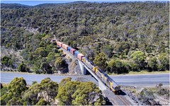 Bell Bay Line (Trains In Tasmania) Tags: australia tasmania tasrail bellbayline longreach trees hill hills bridge train containertrain freighttrain goodstrain trclass tr caterpillar no33freight no33 333 tr07 tr13 diesellocomotive road highway easttamarhighway bellbay railway railroad aerial drone dji djiphantom3standard phantom3standard trainsintasmania