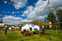 Plenty of bunting (A.I.D.A.N.) Tags: music field festival clouds canon eos tents riverside festivals bluesky philosophy hay hayonwye mkii markii bunting hayfestival canoneos5dmarkii howthelightgetsin canon5dmkii canon5dmarkii philosophyfestival