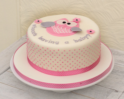 Baby Shower Owl Cake In Pink