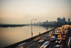 Summer evening on riverside driveway (shimdakyum) Tags: city sunset summer car river lights evening riverside driveway seoul han nightfall