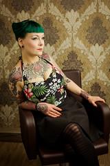 Salon Artifex I Jana #3 (Eera Photography) Tags: femaleportrait portrait 50mm rockabella rockabillystyle rockabilly 50s patterns inked tattoos tattoed colorfulhair colourfulhair alternativestyle