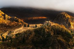 Kotor Castle in the Clouds (NicoTrinkhaus) Tags: kotor montenegro crnagora castle mountain clouds bay view hills fortress walls cloudscape