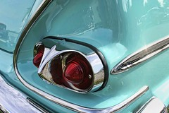 Biscayne: Taillight View (~ Liberty Images) Tags: classiccar turquoise blue chevy biscayne chevrolet 1958 1950scar carshow pumpkinrun admired libertyimages taillights red