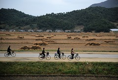 Cyclers (Frühtau) Tags: dprk north korea people leute ride countryside bycicle fahrrad velo fiet traffic street scene strasse land agriculture transportation verkehr nordkorea asia asian east passers by szene menschen woman man village field rice province корея северная country architecture architektur building korean culture daily life 朝鲜 朝鮮 cháoxiān 地 outdoor