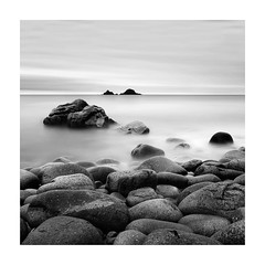 Waiting Patiently (richieJ 11) Tags: porthnanven cornwall rocks coast sea brisons islands granite boulders mono squarecrop blackandwhite longexposure