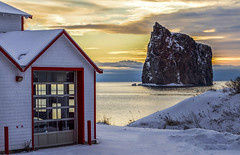 Fire Station at sunrise (Danny VB) Tags: winter sunrise percé fire station firestation gaspésie québec canada snow rocher rocherpercé water ocean sea seascape atlantic rock formation rockformation canon eos 6d january ef50mmf18ii