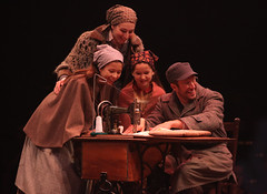 "(L to R) Lauren T. Mack (top), Bella Bagatelos, Noa Solorio and Allen E. Read as Tzeitel, Shprintze, Bielke and Motel in the Music Circus production of ""Fiddler on the Roof"" at the Wells Fargo Pavilion Aug 14-19. Photo by Charr Crail."