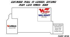 Oakridge Mall London, ON Map (Planet Retail) Tags: ontario london mall map walmart oakridge on loblaws woolco