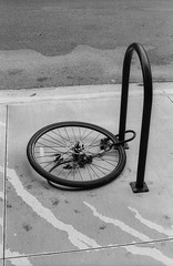 lonely wheel (jollyville) Tags: blackandwhite 35mm kentmere kentmere100 rodinal fujica fujicast605n pentax takumar supertakumar50mmf14 supertakumar 50mm 50mmf14 moody bicycle