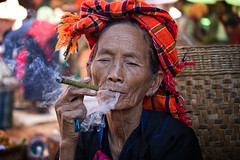 woman of the Pa'O ethnic group~ Myanmar (~mimo~) Tags: woman myanmar burma smoke cigar tobacco turban pao ethnic group tibetan burmese portrait asia color tradition