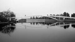 Untitled (R▲F▲VT) Tags: fog urbanvisions urbanlandscape urbancompo blackandwhite blackwhite bw bridges reflections fujifilm xpro1 xgear human humanfactor