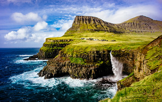 Windy day in Gasadalur - Faroe Islands