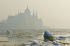 Danube and Ice (bakobela) Tags: hungary budapest danube river parliament ice winter melting reflection cold street city