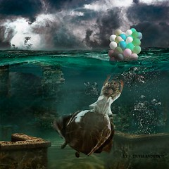 No matter the extent of the ruins, we can always overcome them in style... (Silvia Andreasi (Images Beyond Mirror)) Tags: abandoned balloons underwater waterlevel imagesbeyondmirror silviaandreasi surrealism surreal surrealmood squareformat bubbles dress dreamscape dreamy storytelling herojourney ethereal expectation emotion emotions clouds ruins dark texture blue candid pond imagination allegory
