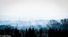 In the mists (judy dean) Tags: judydean 2017 sonya6000 batsford view moretoninmarsh trees church spire countryside haze mist fog blue