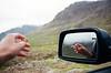 Iceland Cruising (LauraJayneAustin) Tags: lauraaustin film kodakportra contaxt2 iceland smoking driving roadtrip car mirror travel landscape