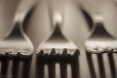 ..._...._... (ieradiaz) Tags: ritmo rythm sombra shadow monocromo monochrome plata silver plateado tenedor fork profundidad de campo field depth diafragma diaphragm open abierto luz light lines líneas repetición repetition cubierto macro detalle detail desenfoque out focus
