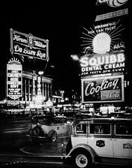 New York City, 1936 (Peer Into The Past) Tags: neonlights advertisements hiramwalker cocacola jamescagney peerintothepast 1936 vintage history blackandwhitephotography newyorkphotography newyork nyc