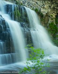 Silk and Green (maureen.elliott) Tags: cliff green woodland waterfalls slowshutter owensound escarpment waterflow niagaraescarpment brucetrail