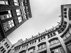 up you look (mahohn) Tags: bw monochrome architecture hamburg 43 fujix10