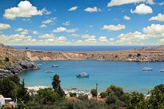 Photo taken in Rhodes Island - Greece. (hanna_astephan) Tags: sea sky tourism beach landscape boats island mediterranean harbour outdoor greece shore rhodes cloudysky lindos bluesea canoneos650d