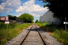On Track (cookedphotos) Tags: red sky toronto train fuji walk perspective tracks streetphotography junction backpack project365 23mm xt1 365project junctiontriangle p3652015