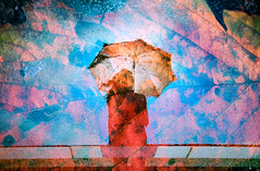 雨上がりの原色たち -color palette after rain (Hodaka Yamamoto) Tags: lomography double doubles doubleexposure multipleexposure multiexposure filmcamera filmphotography film umbrella rain reflection silhouette portrait leaves sky water autumn fall