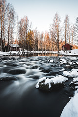 Morning at the rapids (Nippe16) Tags: longexposure finland landscape dawn dusk water movement snow winter