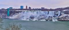 Niagara Falls Winter View (AncasterZ) Tags: niagarafalls americanfalls winter snow stitched panorama sony a6000 sel50f18