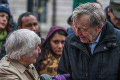 Lord Dubs delivering 44,434 signature petition to Downing Street. (sinister pictures) Tags: lorddubs 44 434 refugee petition no10 downingstreet london uk baronessshirleywilliams england unitedkingdon gbr