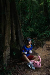 Taichi (bdrc) Tags: asdgraphy yagami taichi digimon plushie monster bukit gasing forest jungle green strobe godox sony a6000 sigma 30mm prime kaori lala cosplay girl portrait crossplay boy character plants trees trunk