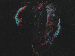 Veil Nebula Mosaic (Astro Gabe) Tags: veilnebula ngc6960 ngc6995 witchsbroom stars space nebula narrowband cygnus mach1gto qsi ultrastar tmb92ss astrometrydotnet:id=nova1894224 astrometrydotnet:status=solved