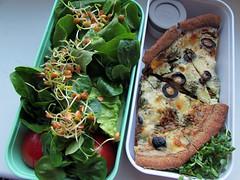 (50% raw) vegetarian bento quiche (GF) & sprouted salad+dressing (tarengil) Tags: raw vegetarian vegetables veggie veggies food foodporn salad quiche green healthy dish lunch bento monbento dinner