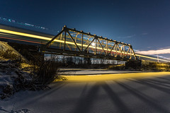 Crossing the bridge (ArtDvU) Tags: crossing the bridge long exposure wideangle 1020 sigma finnishrailways southern ostrobothnia railway train s456 finland canon eos 7d mkii evening moon moonlight light