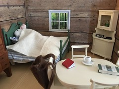 Bed and Breakfast (foxkit18) Tags: mouse miniature diorama handmade cabin ooak painted furniture 112 vest bed table chairs house shoe box