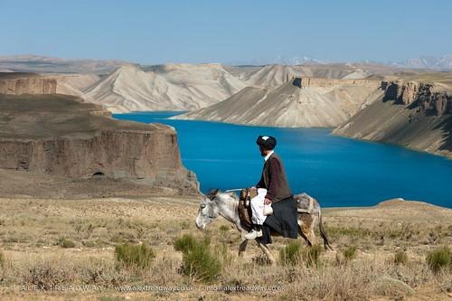 Man on donkey near Band-e Amir