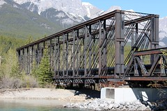 Engine Bridge over the Bow River (Canmore, Alberta) (cmh2315fl) Tags: canada alberta banff railroadbridge canmore cpr bowriver canadianrockies canadianpacificrailway trussbridge canadianbridge throughtruss thrutruss whippletruss whipplethroughtruss