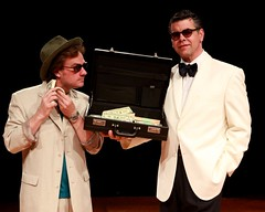 """Timothy Gulan (left) as Freddy Benson and Burke Moses as Lawrence Jameson in the Music Circus premiere of """"Dirty Rotten Scoundrels"""" at the Wells Fargo Pavilion August 3-8, 2010.  Photo by Charr Crail."""