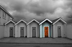 Number 4 (diminji (Chris)) Tags: sky southwest monochrome huts devon beachhuts hdr westcountry selectivecolour shaldon skyporn hdrtoning