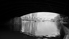 Bridge SouthBank (Deniz Kilicci) Tags: city bridge blackandwhite bw reflection water monochrome architecture buildings river underpass outside arch riverside path walk sony australia melbourne victoria southbank reflect yarra 18mm yarrariver a6000 selp18105g