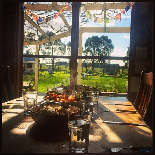 187/365 • a beautiful lunch cooked by our beautiful friend. And... SUNSHINE!! It's been too long! • #187_2015 #lunch #friends #sunshine #hastings #roast