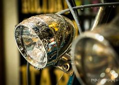 Bike Headlights (Pablo Arrigoni) Tags: japón japan outdoor outside asia kyoto bike bicycle chrome cromado light luz lámpara city ciudad viaje vintage rain raining drop gota agua water canon eos eos70d 18135 70d travel trip old bokeh