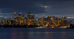 Sydney Blue Hour (Tracey Whitefoot) Tags: tracey whitefoot 2016 sydney australia dusk blue hour sunset skyline skyscrapers opera house evening lights harbour new south wales nsw