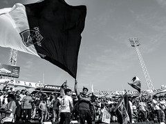 EM10-102016_Aniversario30GB-003 (Pablo Dalien) Tags: football futbol barrabrava hooligans colocolo chile estadio stadium people celebration flags fans fanatismo fanatic happy blackandwhite streetphotography santiago life style